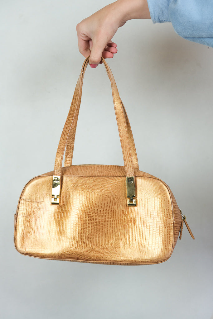 Authentic Vintage 1980s Christian Dior Mock Snakeskin Bag