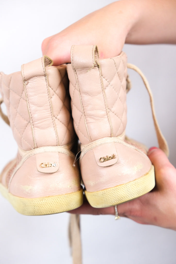 Authentic Chloé Blush Quilted Leather and Ayers Hi-Top Sneakers