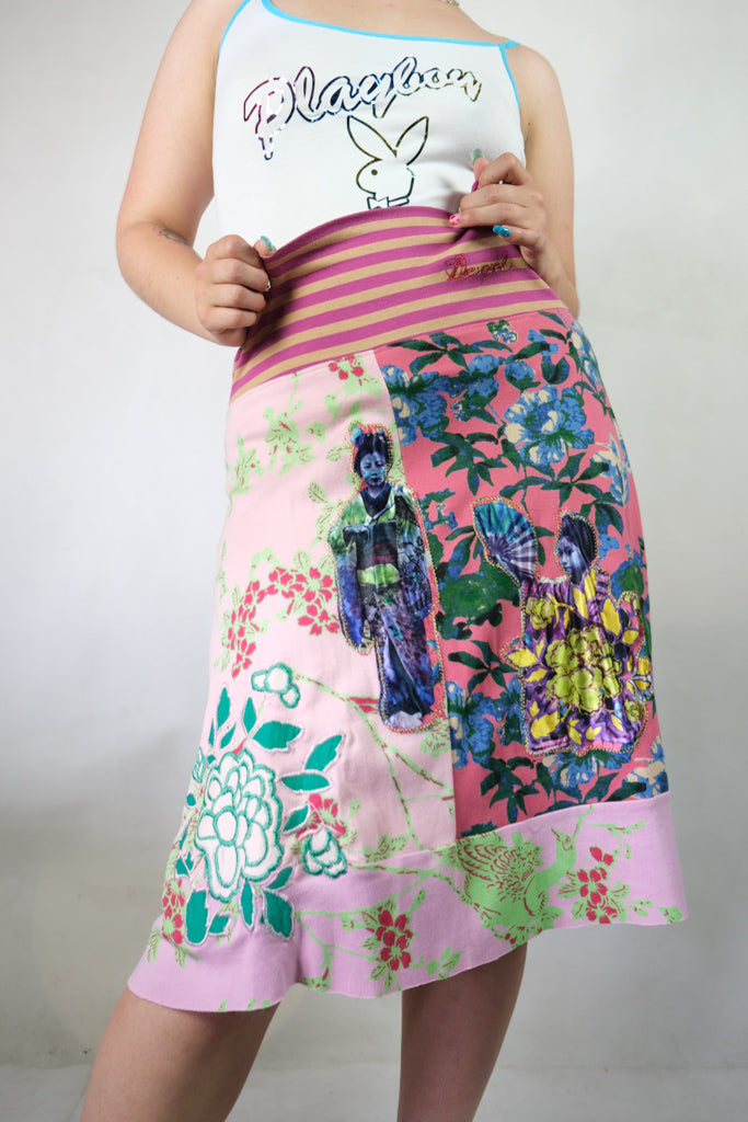 Authentic Early 2000s Desigual Geisha Embroidered Skirt