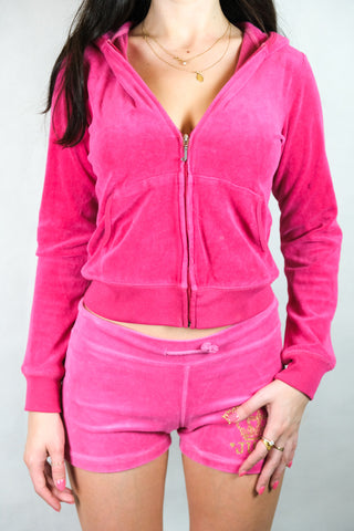 Authentic Juicy Couture Pink Velour Tracksuit Set Size S