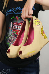 Authentic Ed Hardy By Christian Audigier Rhinestone Tattoo Wedges