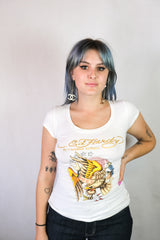 Authentic Rhinestone Ed Hardy by Christian Audigier Logo T-Shirt