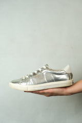 Authentic Juicy Couture Silver Metallic Leather Sneakers