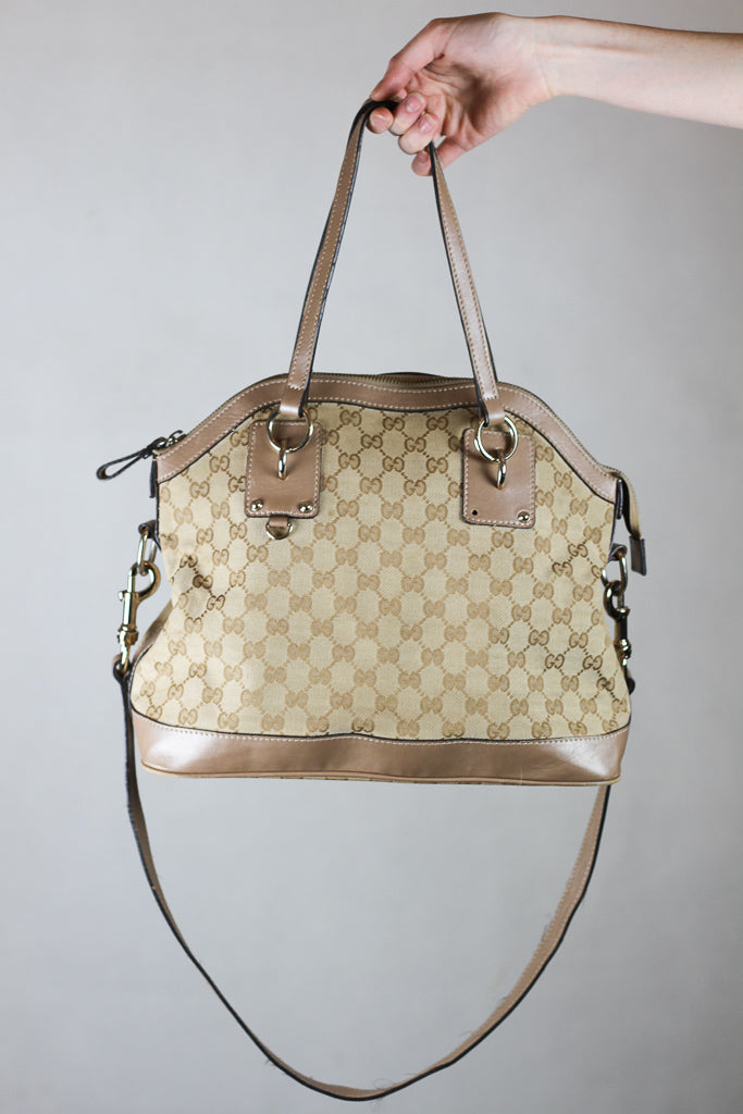 Authentic Gucci GG Canvas Charm Dome Bag
