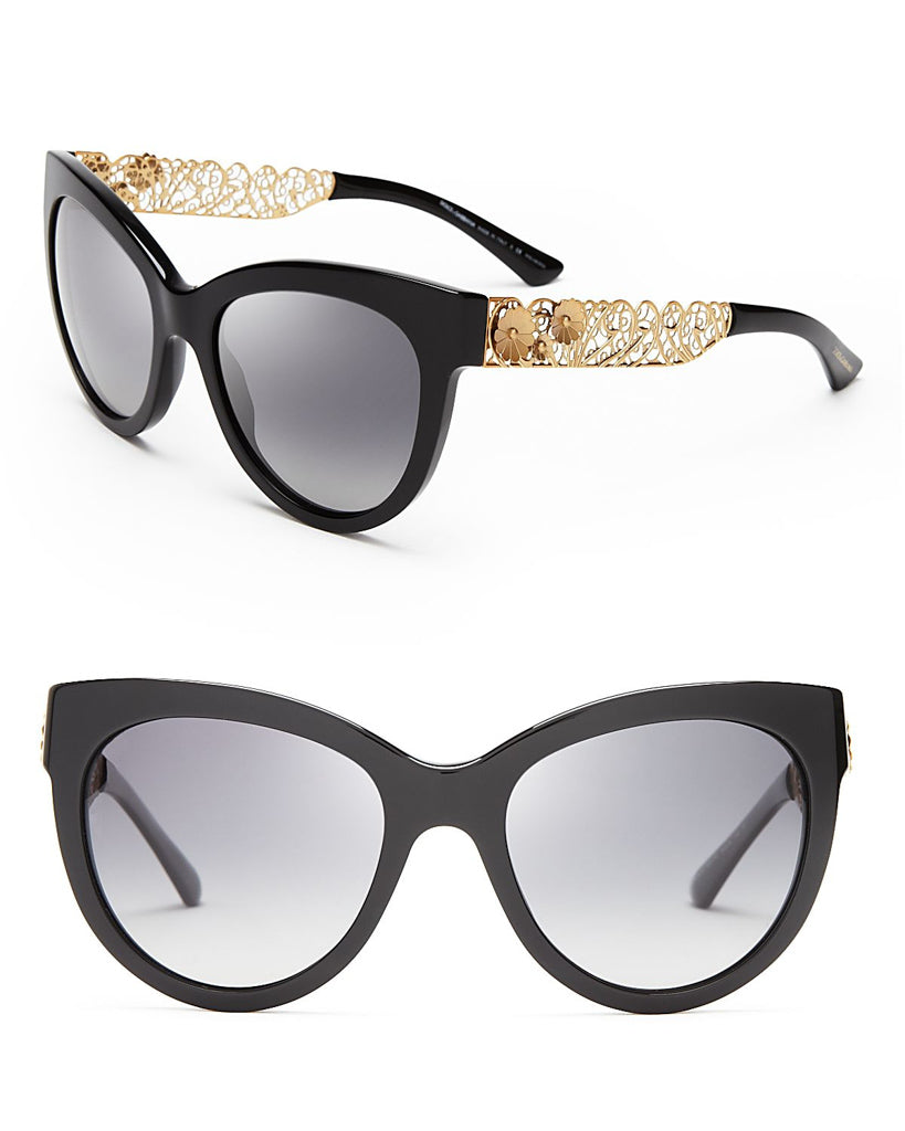 Authentic NEW Dolce & Gabbana Gold Leaf Arm Sunglasses