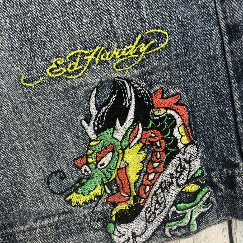 Authentic Ed Hardy Mens Tattoo Print Denim Shorts