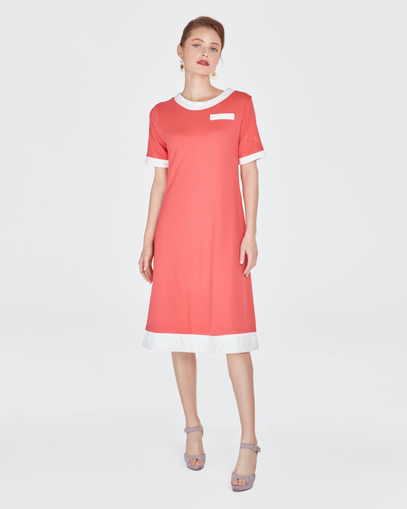 Brenda Dress in Coral