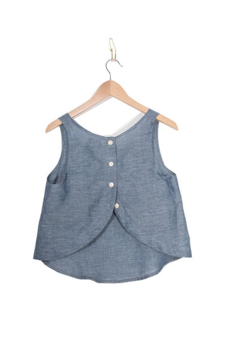 Coast - Button Back Tank - Indigo - Size L only!