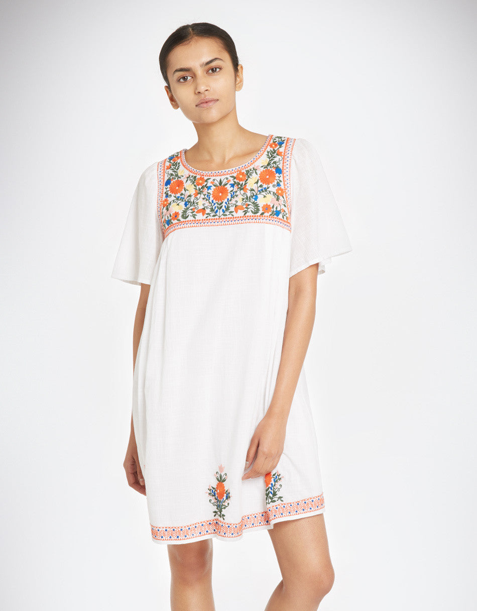 YMC - Floral Embroidery Dress - size small in white only!