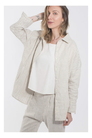 Coast - Draped Button Up - Sandstone Stripe