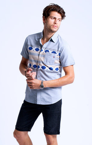 Sol Angeles - Ikat Chambray Short Sleeve Shirt - size small only!