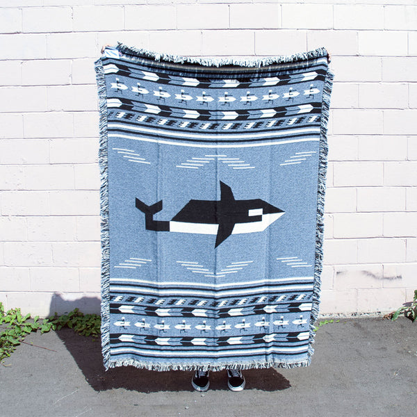Forest & Waves - Orca and Surfers Woven Blanket - only Gray Blue colorway left!