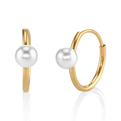 Pearl and Gold Mini Hoops