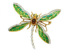 Dragonlyfly with diamonds emerald eyes and citrine center