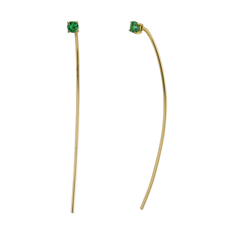 Emerald Crescent Pull Earrings