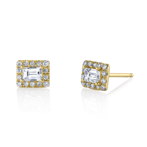 Baguette Diamond Halo Studs