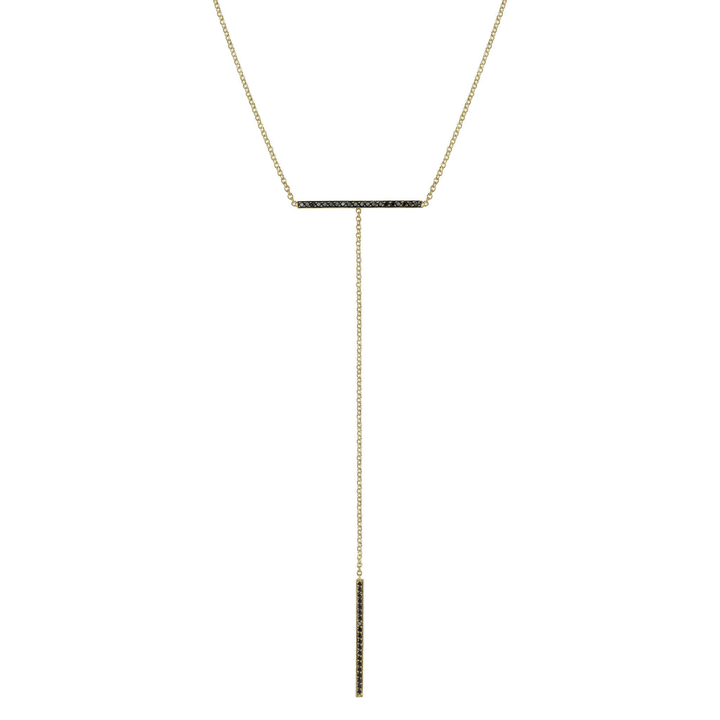Pave T-bar Necklace white gold