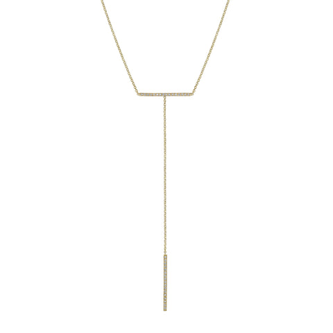 Pave T-bar Necklace yellow gold