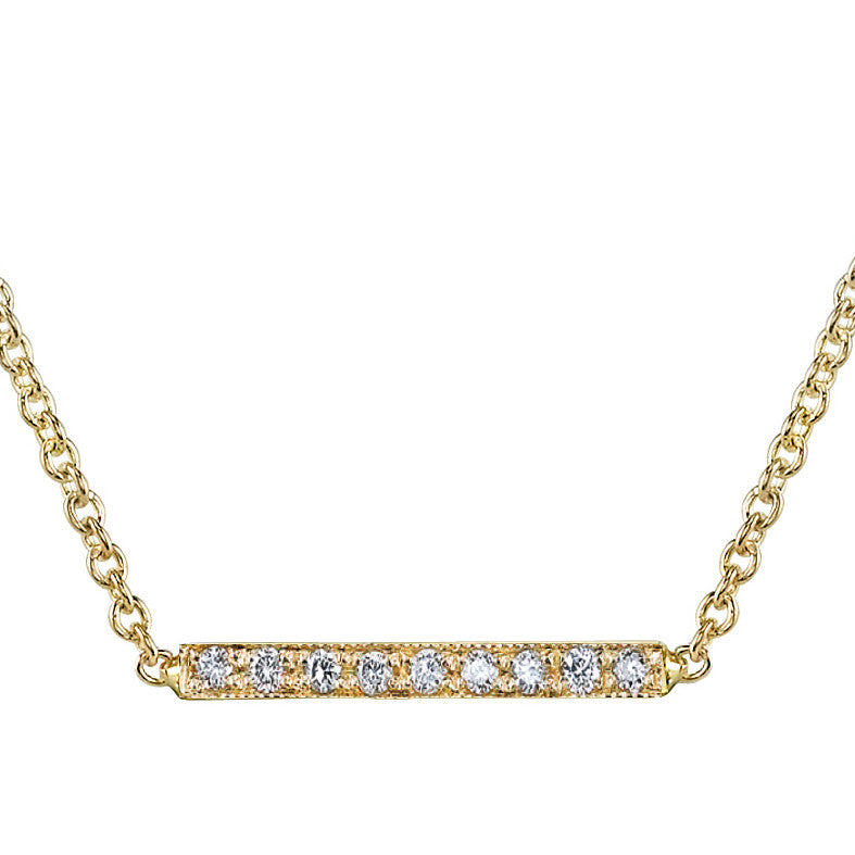 Pave Mini Straight Bar Necklace