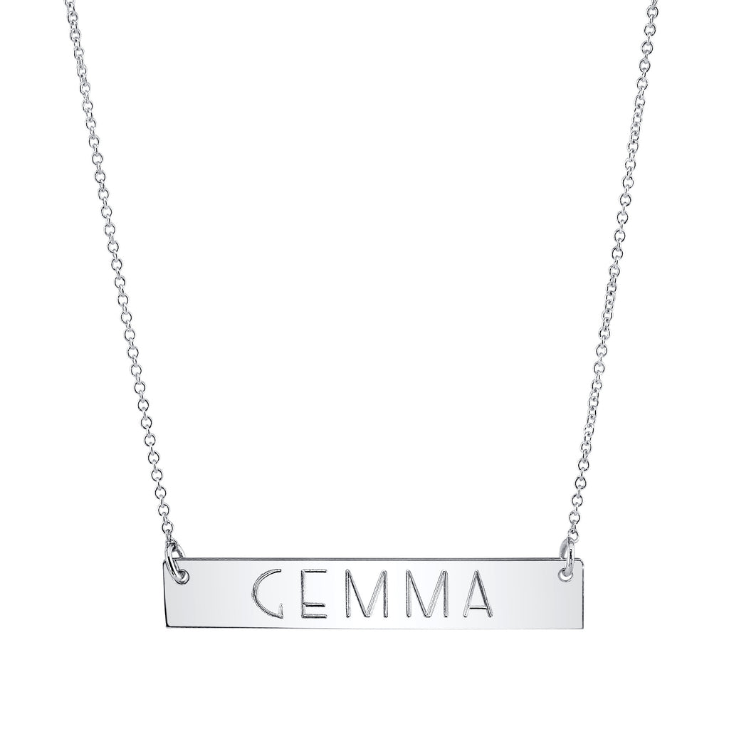 Nameplate Necklace white gold