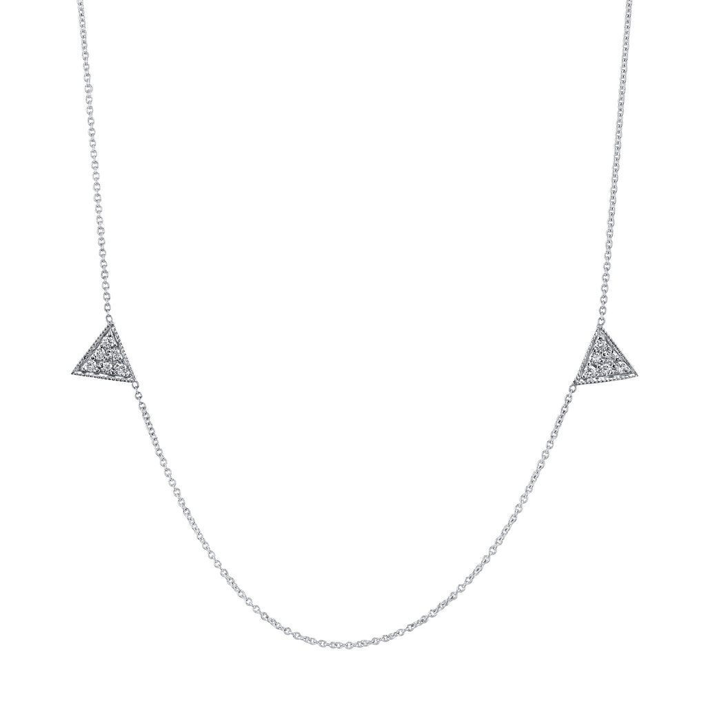Mini Pave Triangle Duo Clavicle Necklace