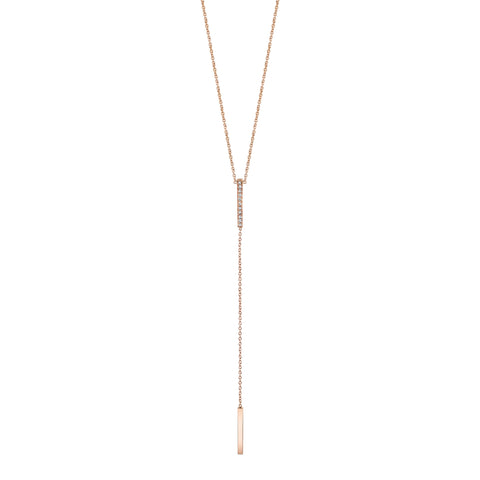 Pave Mini Y-bar Necklace rose gold necklace