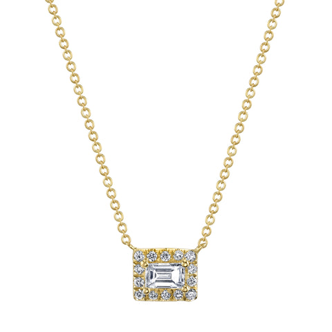 Baguette Diamond Halo Necklace