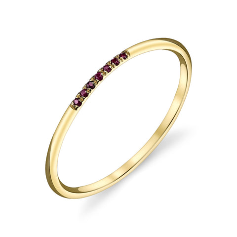7 Stone Pave Rubies Band
