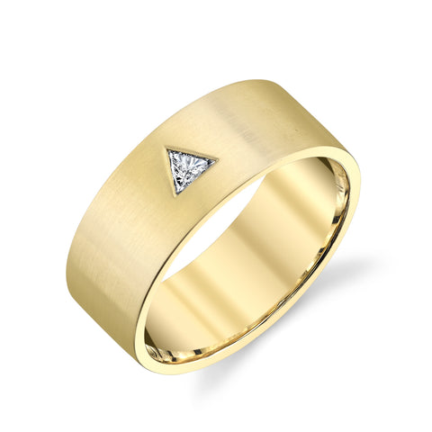 Triangle Diamond Cigar Band Ring