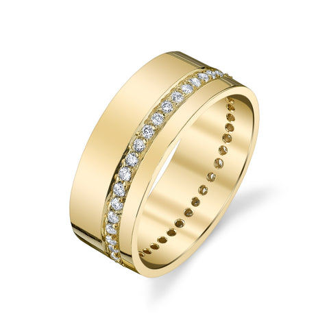 Pave Diamond Cigar Band Ring
