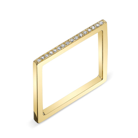 Pave Square Ring yellow gold