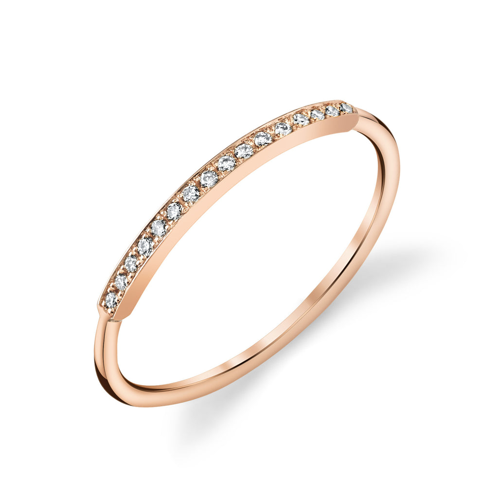 Pave Top Bar Ring rose gold