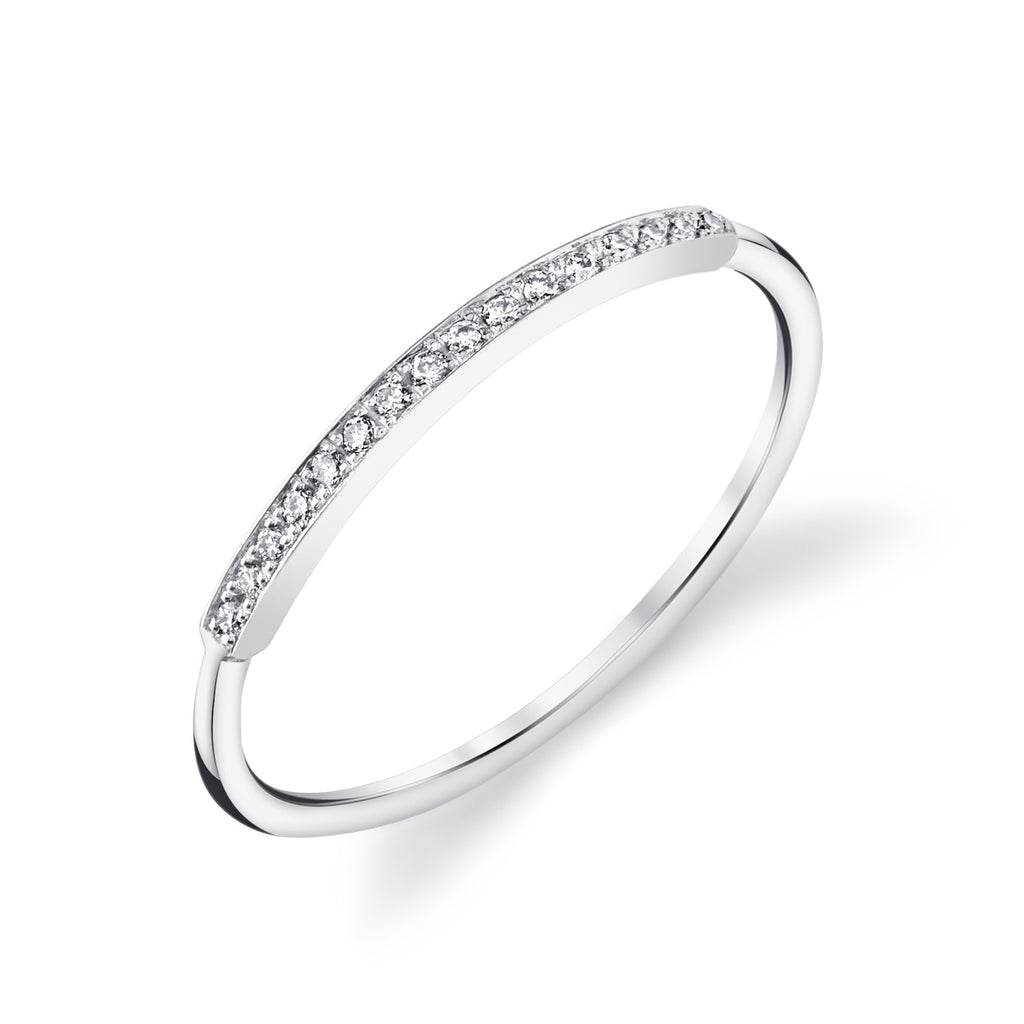 Pave Top Bar Ring white gold