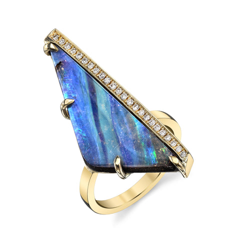 Long Opal and Pave Ring