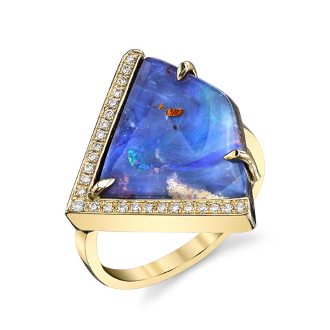 Angle Opal and Pave Ring