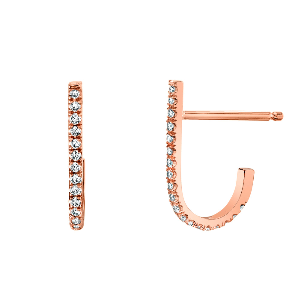 Pave J Stud Earrings