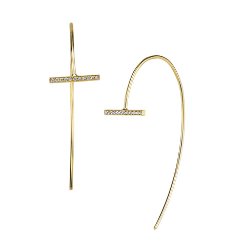 Pave Horizontal Arc Earrings
