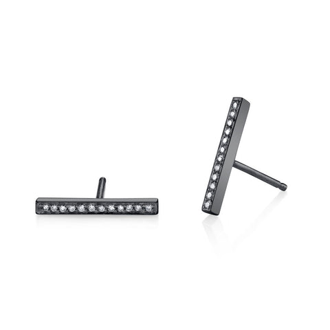 Pave Diamond Bar Studs in Black Rhodium