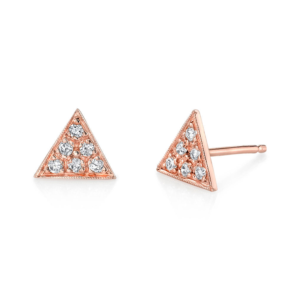 Pave Triangle Studs rose gold diamonds