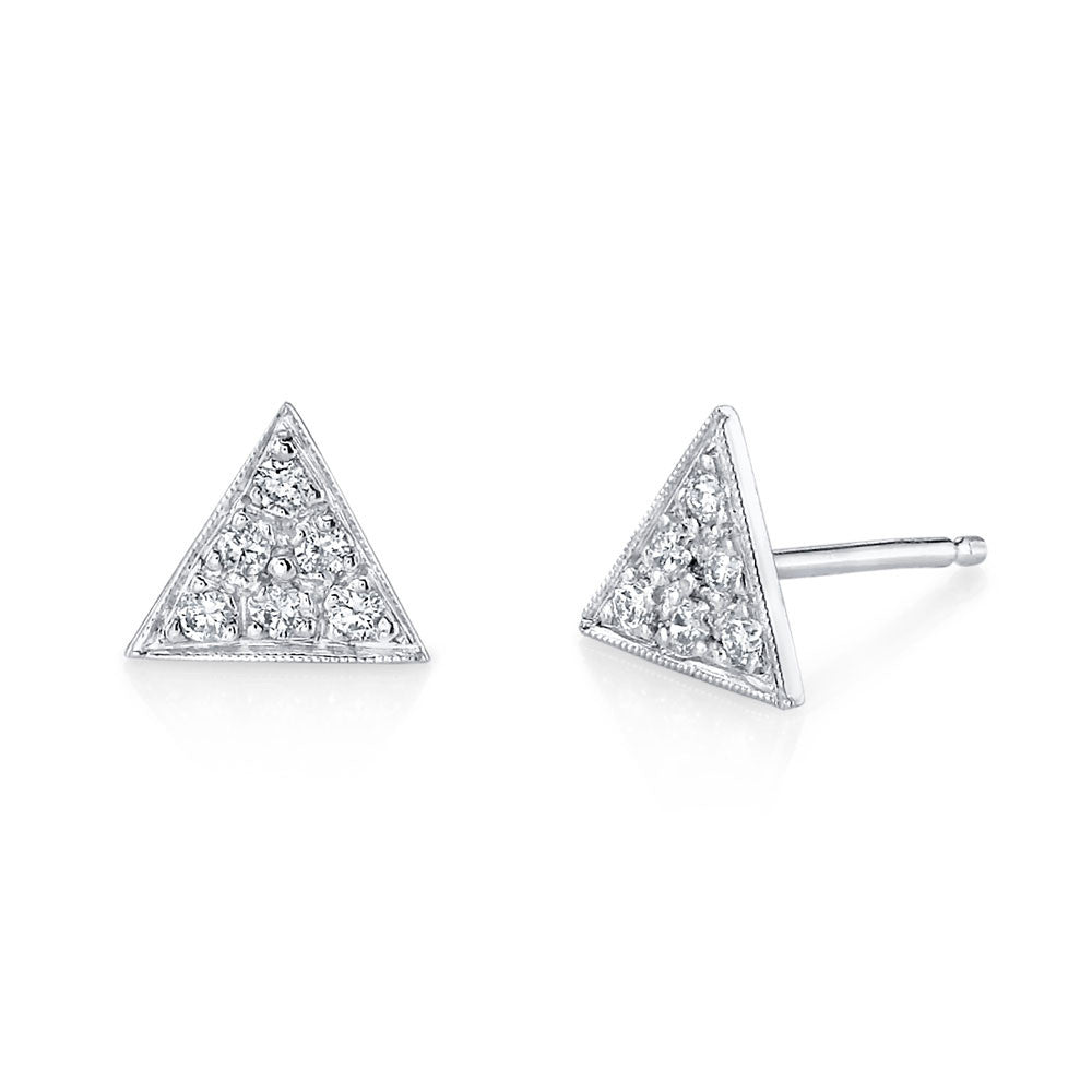 Pave Triangle Studs white gold diamonds