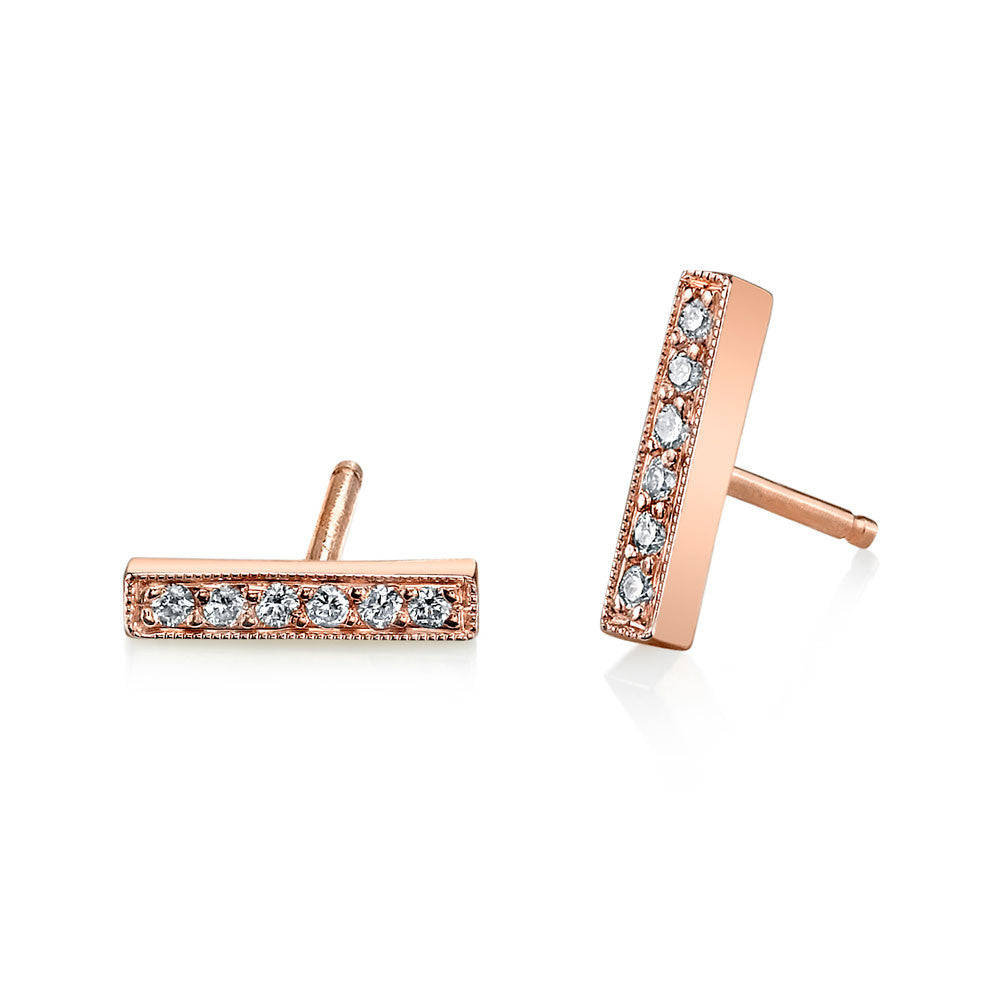 Pave Mini Bar Studs rose gold