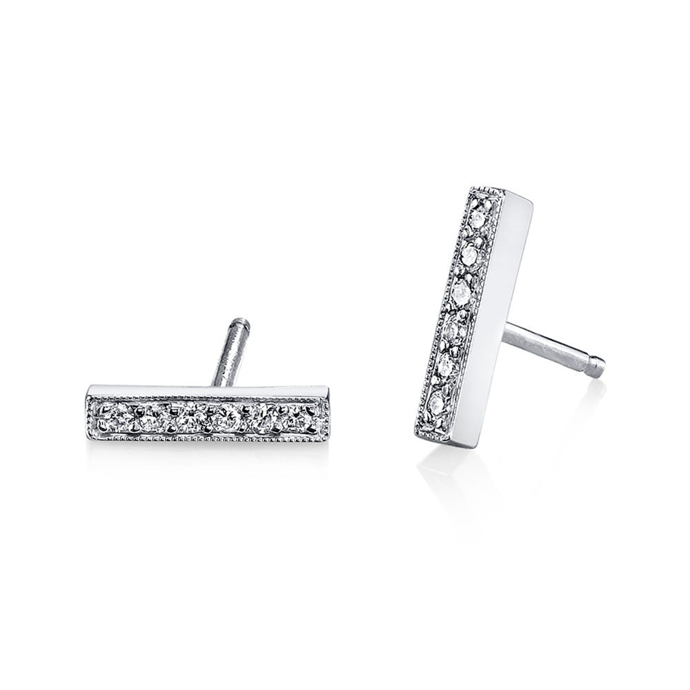 Pave Mini Bar Studs white gold