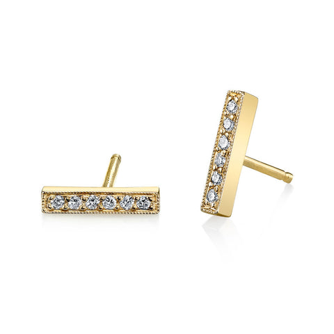 Pave Mini Bar Studs yellow gold