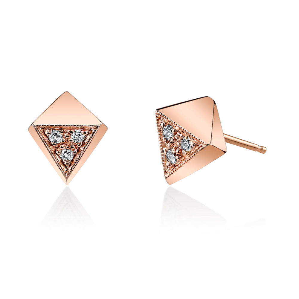 Pave Polyhedron Studs rose golde