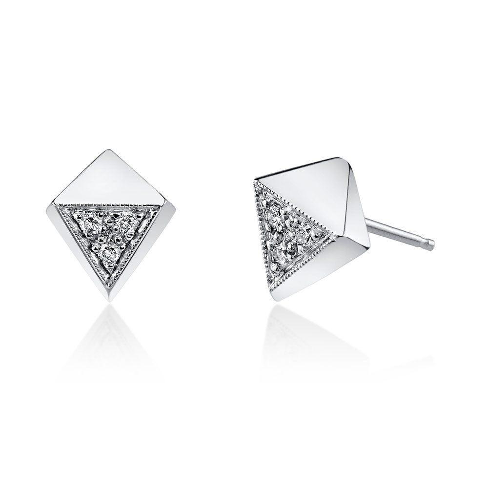 Pave Polyhedron Studs white gold