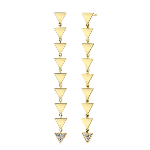 Pave Dix Huit Drop Studs yellow gold