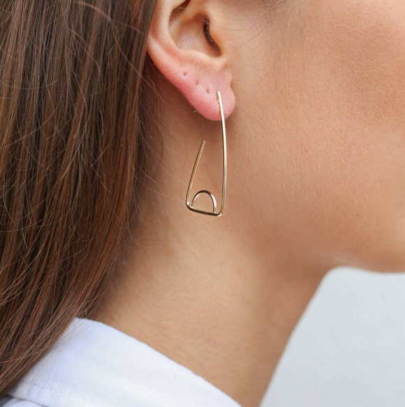 RK-F 14kt gf Triangle w/Half Circle Earrings