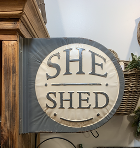"PDHG Round ""She Shed"" Tin Sign (dbl sided) hx351078"