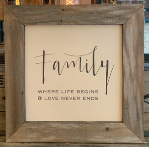 24x24 Family Canvas & Wood Sign BB