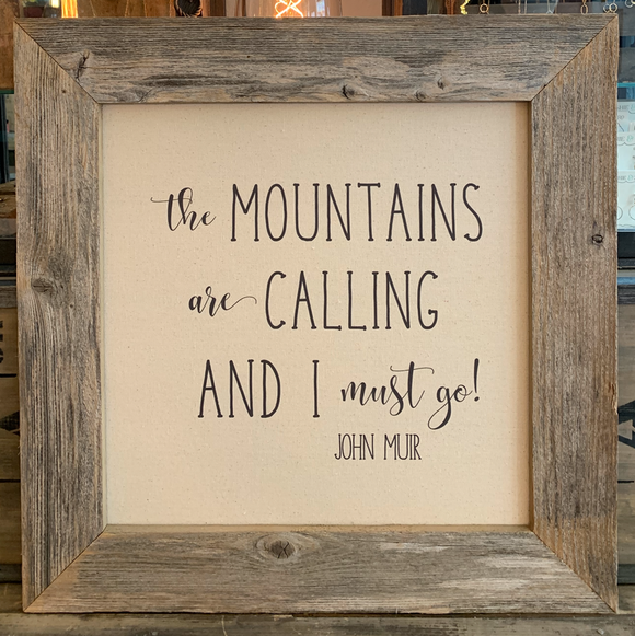 24x24 Mountains Canvas & Wood Sign